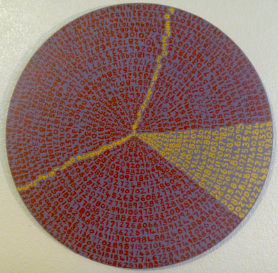 """A Slice of Pi"". Pi to 1765 decimal places. Synthetic polymer on canvas, 800.. diam."